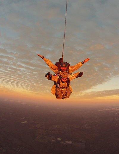 Heavy Load Tactical tandem skydive at sunset