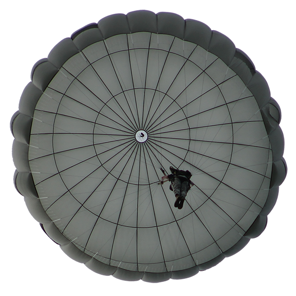 Looking up at non-steerable parachute