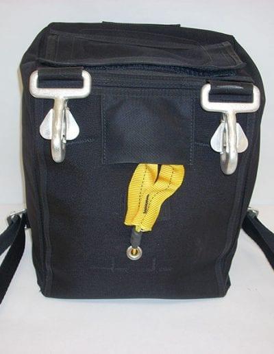 Back side of black demonstration bag
