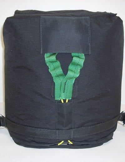 Front side of black demonstration bag