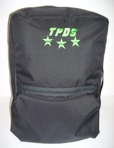 Front view of black Gear Bag 600 with green TPDS logo