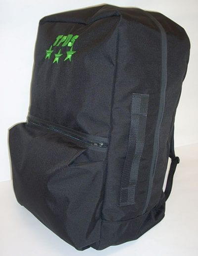 Front and side view of black Gear Bag 600 with green TPDS logo