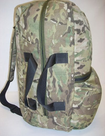 Side view of camouflage Gear Bag 600