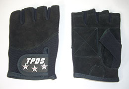 A pair of black fingerless gloves with TPDS logo