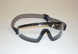 A pair of clear Goggles with strap