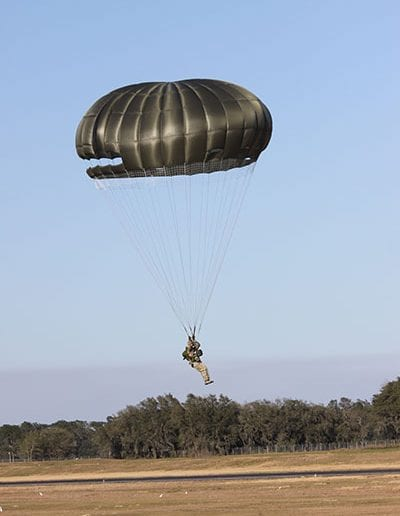 Coming in for a landing with an Invasion II Steerable parachute