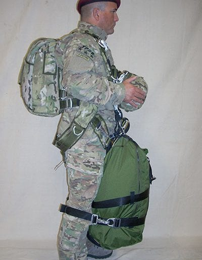 Right side view of man posing with Invasion II with Rapid Release Harness