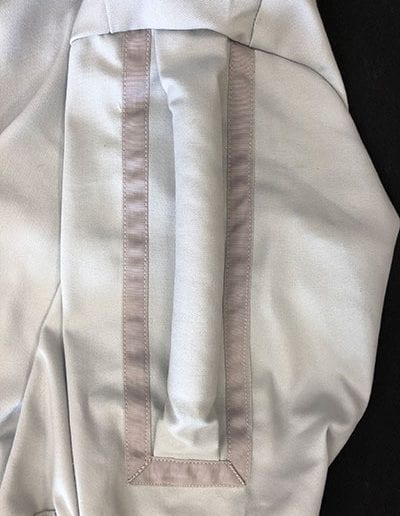 Close up of jumpsuit material and design