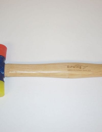 Wood handled double faced mallet with soft and hard tips