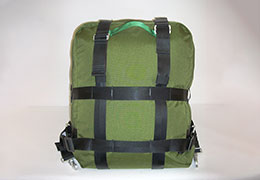 Green Personal Cargo Drop Harness with black straps